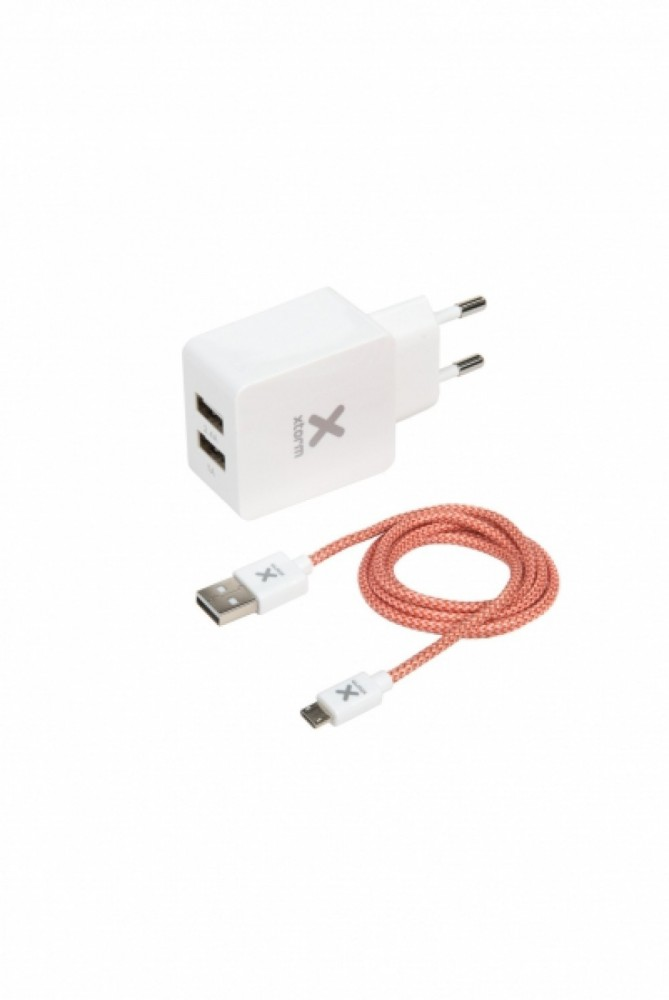 Xtorm Micro-USB Hemladdare 2xUSB 2.4A 1m, vit