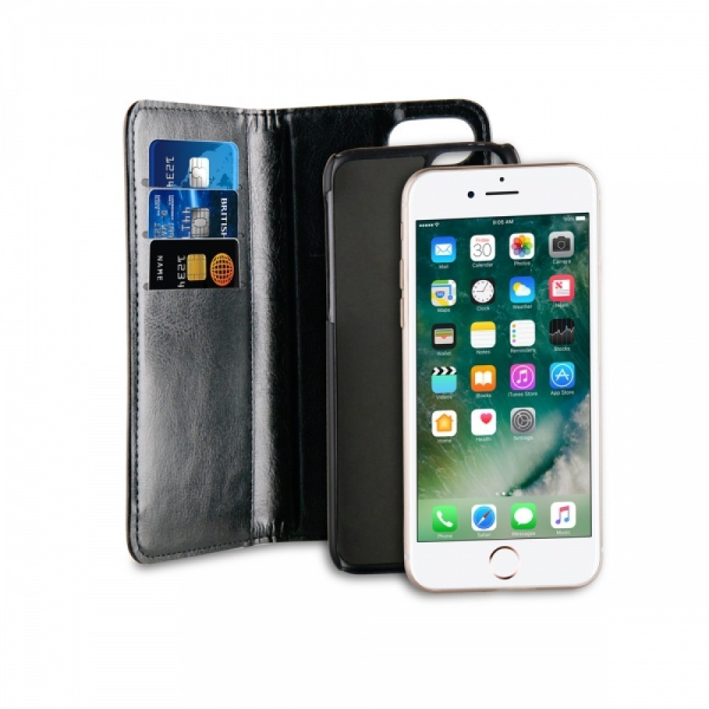 Vivanco 2 i 1 Plånboksfodral/Skal för iPhone 8/7/6/6S Svart