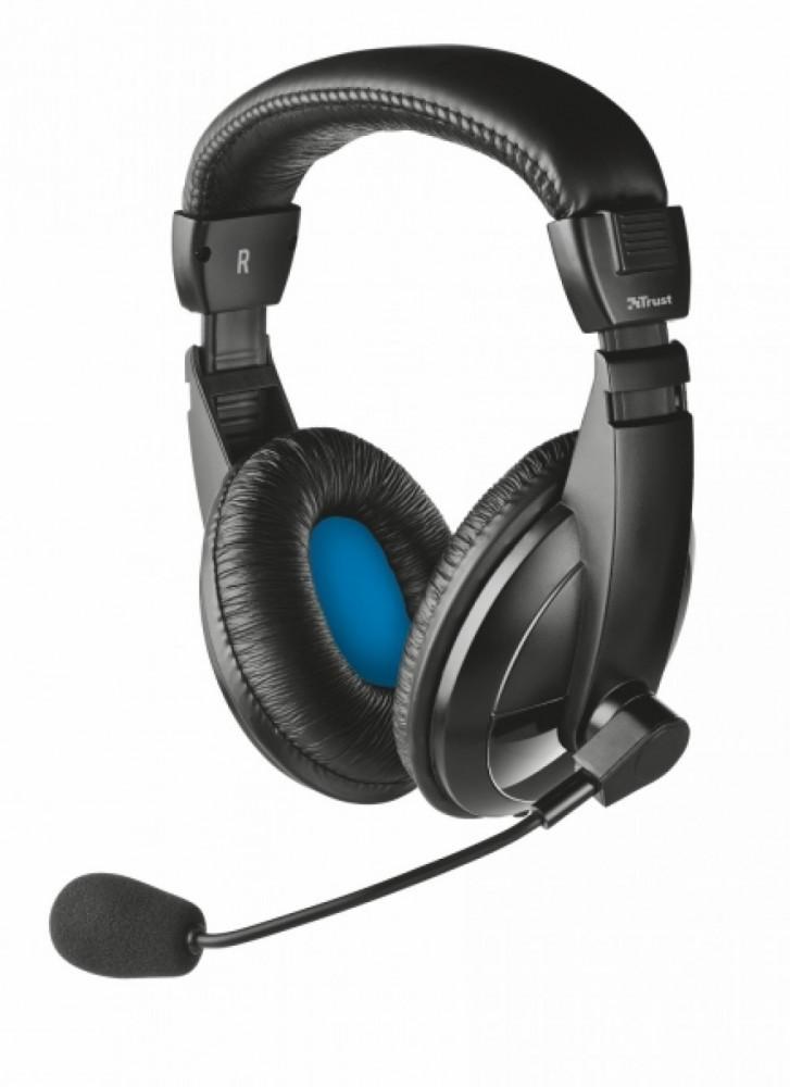 Trust Headset med stereoljud + integrerad volymkontroll